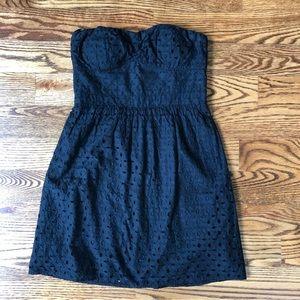 Black strapless eyelet dress